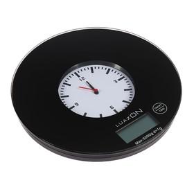 Весы кухонные LuazON LVK-703, электронные, до 5 кг, встроенные часы, чёрные