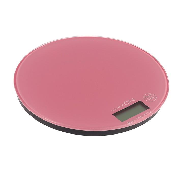 Весы электронные кухонные LuazON LVK-701 до 5 кг, круглые, стекло, бледно-розовые