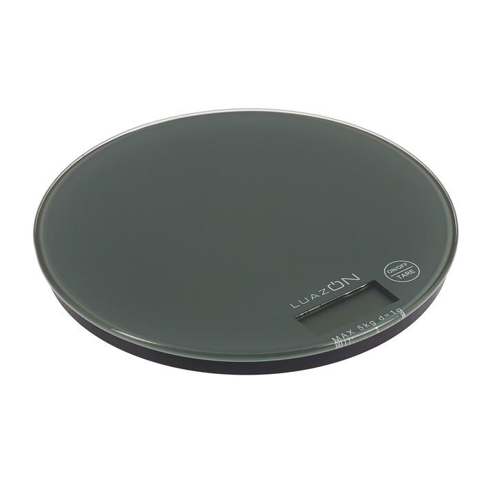 Весы электронные кухонные LuazON LVK-701 до 5 кг, круглые, стекло, серые
