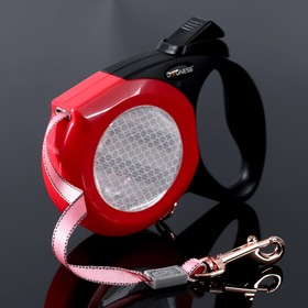 Рулетка Dogness Elegance Range, лента 5 м, до 42 кг, светоотражающий корпус, красно-черная