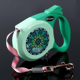 Рулетка Dogness Elegance Range, лента 4 м, до 25 кг, расцветка графика, зеленая