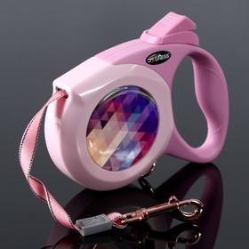 Рулетка Dogness Elegance Range, лента 4 м, до 25 кг, расцветка графика, розовая