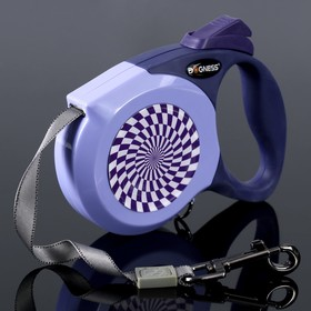 Рулетка Dogness Elegance Range, лента 3 м, до 12 кг, расцветка графика, фиолетовая