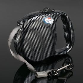 Рулетка Dogness Fashion Range, расцветка карбон, лента 5 м, до 42 кг