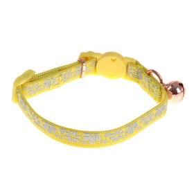 Ошейник кошачий Dogness, светоотражающий принт, 1 х 15-26 см, нейлон, желтый