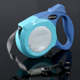 Рулетка Dogness Elegance Range, лента 6 м, до 55 кг, светоотражающий корпус, синяя