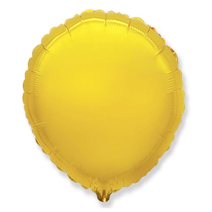 """Шар фольгированный 13"""" """"Круг"""" с клапаном, для палочки, цвет золотой"""
