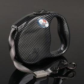 Рулетка Dogness Fashion Range, расцветка карбон, лента 3 м, до 12 кг