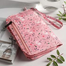 Кошелёк туристический, отдел на молнии, с ручкой, цвет розовый - фото 54799