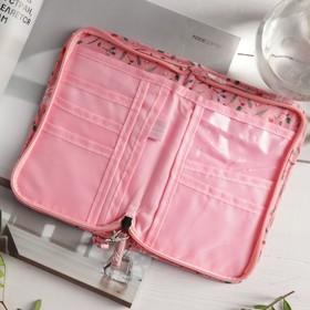 Кошелёк туристический, отдел на молнии, с ручкой, цвет розовый - фото 54800