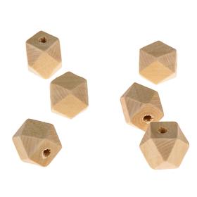 Бусины деревянные многогранники 14х14 мм (набор 6 шт) без покрытия
