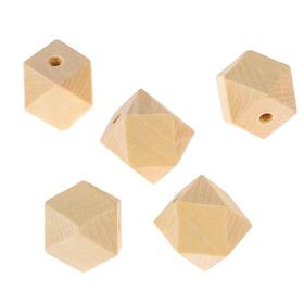 Бусины деревянные многогранники 16х16 мм (набор 5 шт) без покрытия