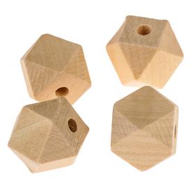 Бусины деревянные многогранники 18х18 мм (набор 4 шт) без покрытия
