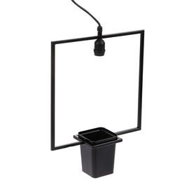 Светильник для растений подвесной Uniel «Квадрат», с кашпо, Е27, черный Ош
