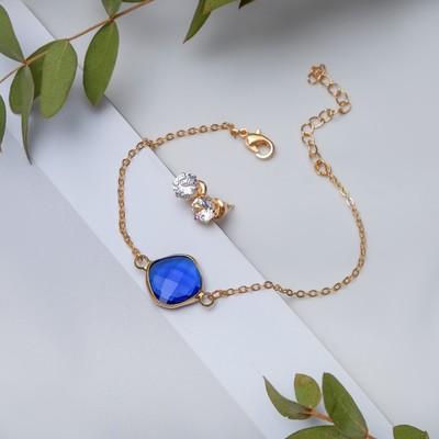 Set of 2 pieces: a bracelet, ear studs set art Nouveau stained glass, color white blue gold