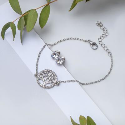 Set of 2 pieces: a bracelet, ear studs set Modern wood, color white silver