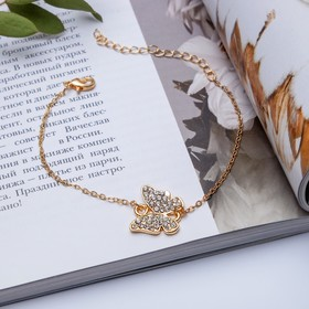 """Bracelet with rhinestone """"Butterfly"""" spring color white gold"""