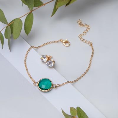 Set of 2 pieces: a bracelet, ear studs set art Nouveau stained glass, color white-green gold
