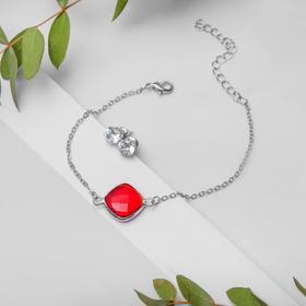 """Набор 2 предмета: браслет, пуссеты """"Модерн"""" витраж, цвет бело-красный в серебре"""