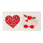 """Открытка деревянная """"Я  тебя люблю"""" сердце из сердец"""