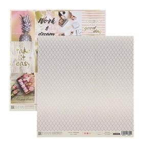"Бумага для скрапбукинга ""Карточки. Pretty pink"" 30,5х30,5 см, 190 гр/м2"