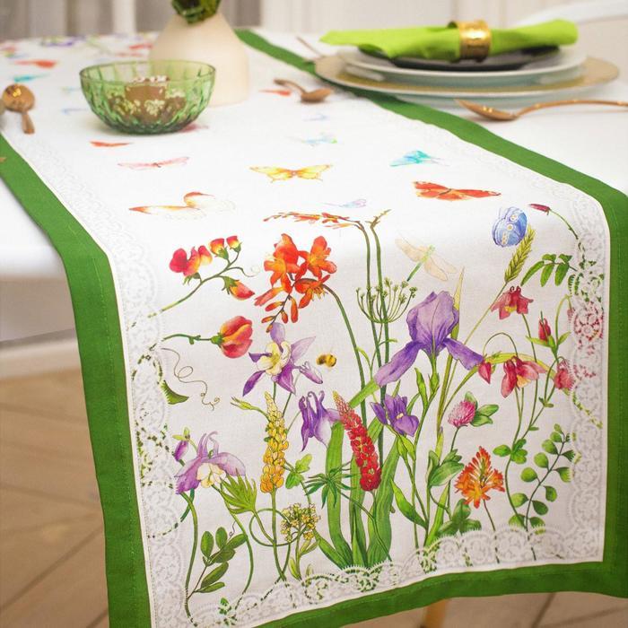 """Дорожка на стол """"Луговые цветы"""" 40*146 см, 100% хл, саржа 190гр/м2"""