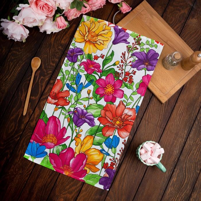 """Полотенце """"Доляна"""" В летнем саду 35*60±2 см,100% хл, рогожка, 162 гр/м"""