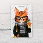 Чехол для бейджа и карточек «Стильный кот», 6,8 х 10,5 см