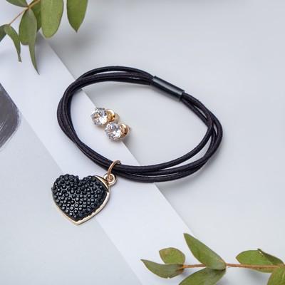 "Set of 2 pieces: a bracelet, ear studs set ""Modern"" heart large, color black gold"