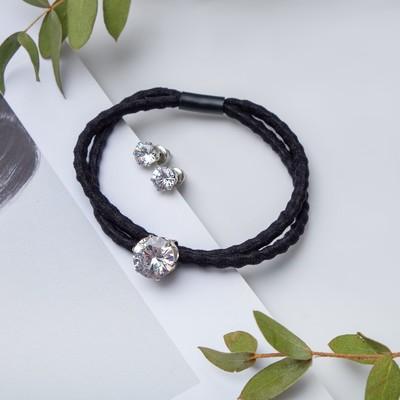 "Set of 2 pieces: a bracelet, ear studs set ""Modern"" crystal, color black silver"