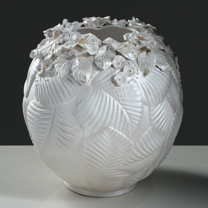"""Ваза настольная """"Лист"""", шар, лепка, 36 см, керамика - фото 822824"""