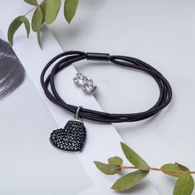 "Set of 2 pieces: a bracelet, ear studs set ""Modern"" heart large, color black silver"
