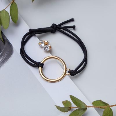 Set of 2 pieces: a bracelet, ear studs set Modern round black gold