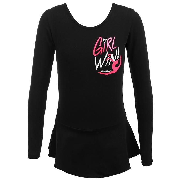 Купальник гимнастический Girl Win х/б с юбкой длин.рукав, чёрный, размер 28