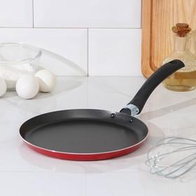 Сковорода блинная Доляна, d=22 см, антипригарное покрытие, цвет красный