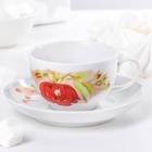 "Чайная пара 210 мл ""Янтарь. Альпийские цветы красные"""