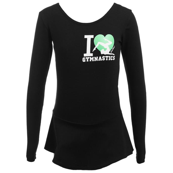 Купальник гимнастический I Love Gymnastics х/б с юбкой длин.рукав, чёрный, размер 28