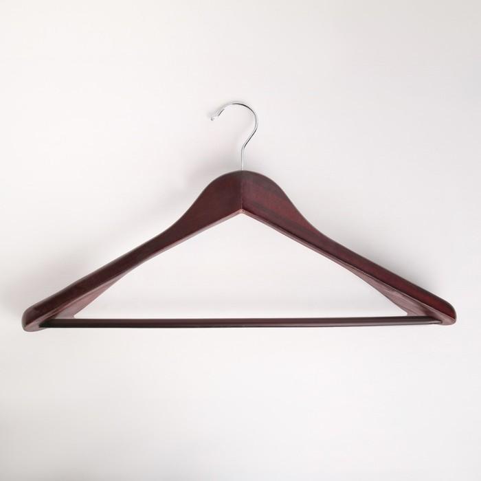 Вешалка для верхней одежды с перекладиной, широкие плечики, размер 48-50, дерево вишня
