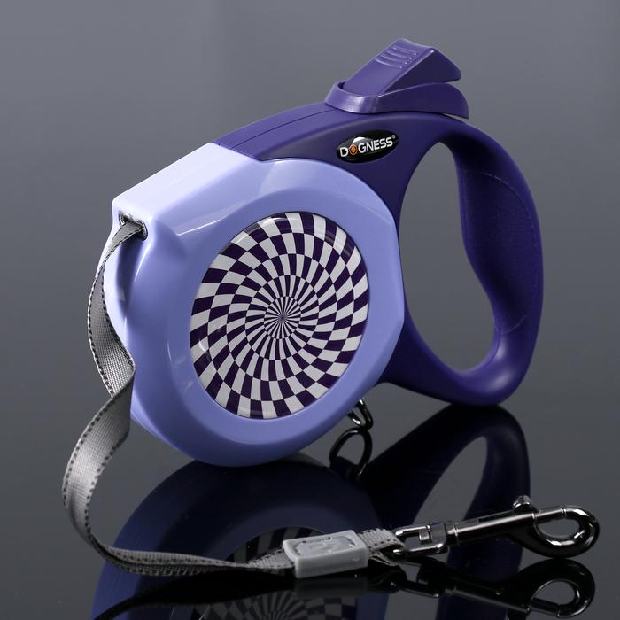 Рулетка Dogness Elegance Range, лента 6 м, до 55 кг, расцветка графика, фиолетовая