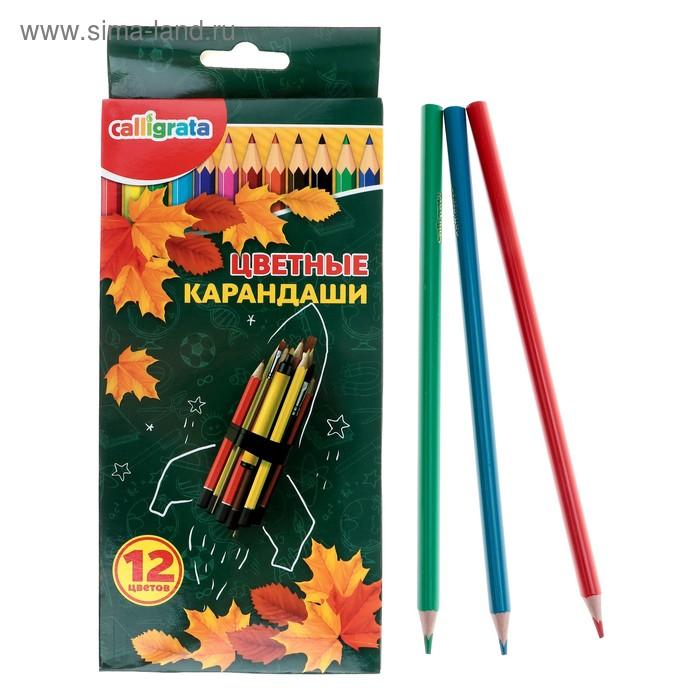 Карандаши 12 цветов в картонной коробке Calligrata Ракета