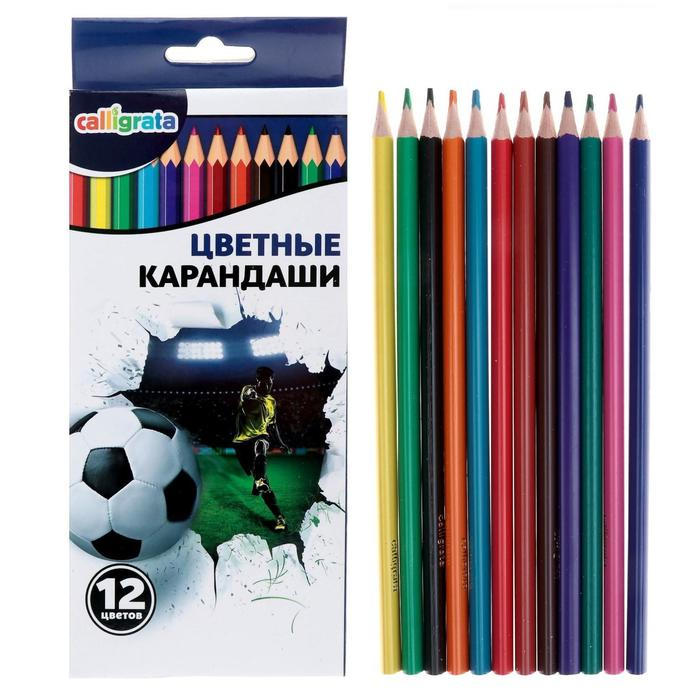 Карандаши 12 цветов в картонной коробке Calligrata Футбол
