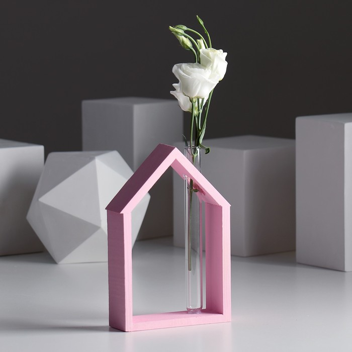 "Рамка-ваза для цветов ""Домик"", цвет розовый, 15 х 21 см"