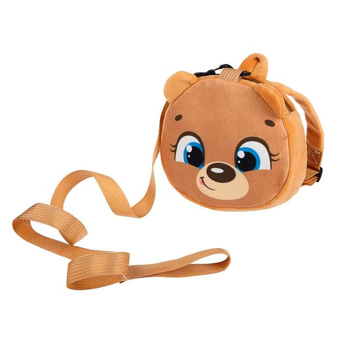 Вожжи/рюкзак «Мишка», с поводком, на молнии
