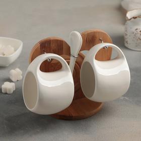 """Набор чайный """"Эстет"""", 6 предметов: 2 чашки 200 мл, 2 подставки 9,5 см, 2 ложки, на деревянной подставке"""