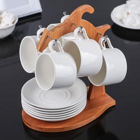 "Set tea ""Estet"", 12 pieces: 6 cups, 130 ml, 6 saucers, on a wooden stand"