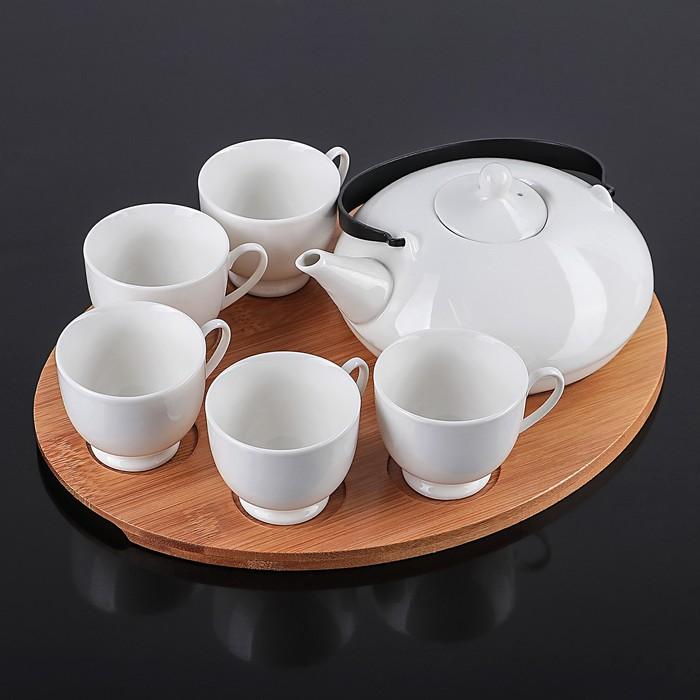 """Набор чайный """"Эстет"""", 6 предметов: чайник 400 мл, 5 кружек 150 мл, на деревянной подставке"""