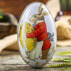 "Шкатулка металл яйцо ""Пасхальный кролик"" 11,3х6,7х6 см"