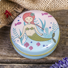 Box metal round mermaid MIX 3x6,5x6,5 cm