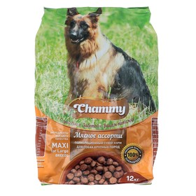 Сухой корм Chammy для собак крупных пород, мясное ассорти, 12 кг