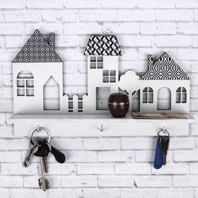 "Key holder with shelf ""Houses"""